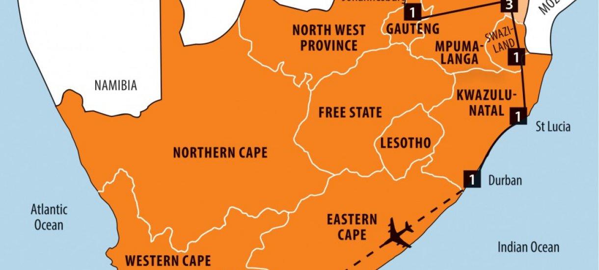 Etelä-Afrikan kartta