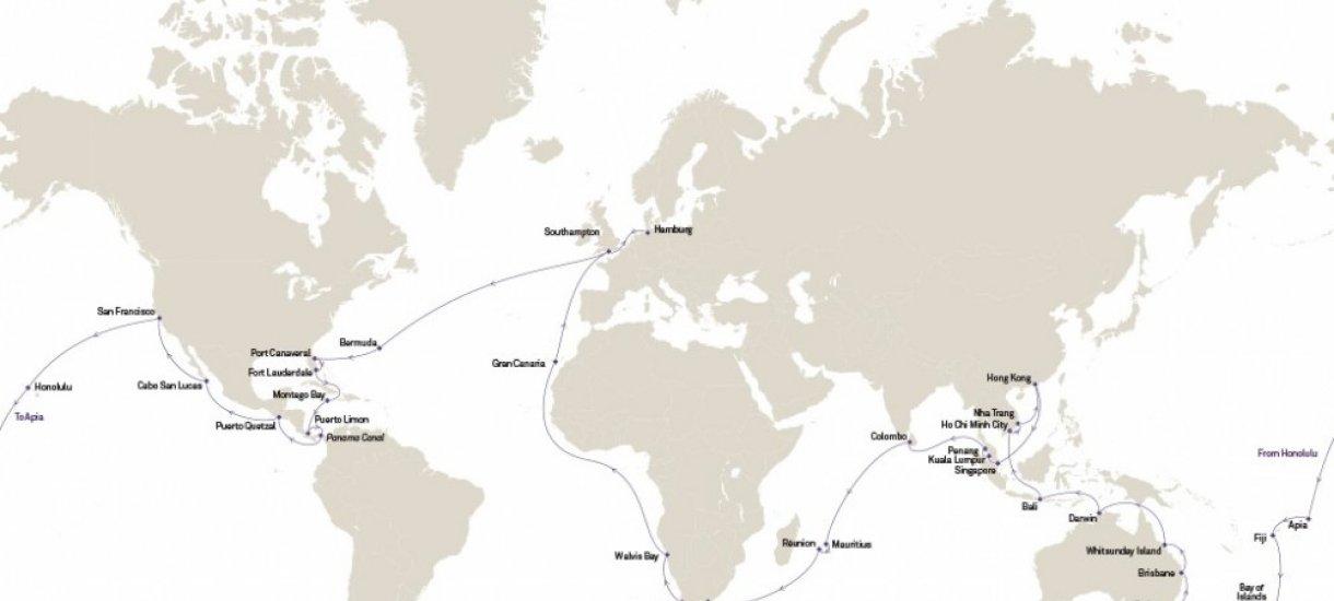 Cunard World Cruise kartta