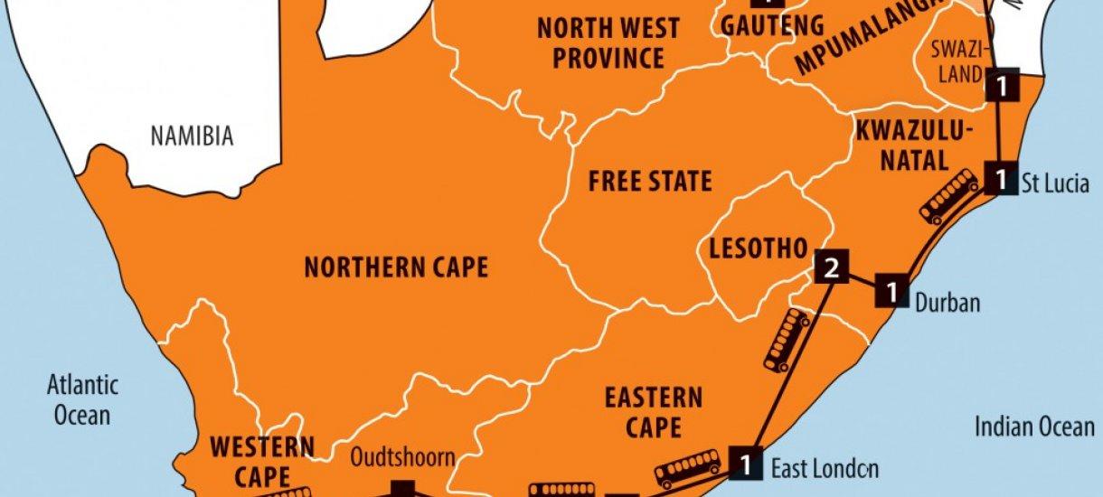 Yllättävä Etelä-Afrikka -kartta